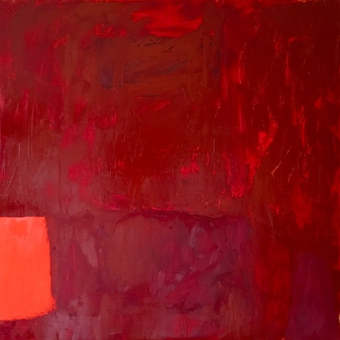 "Blood Stone "" 40' x 40"" Oil, Wax, Acrylic"