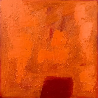 "Orange Sunset 20"" x 20"" oil, wax, acrylic"