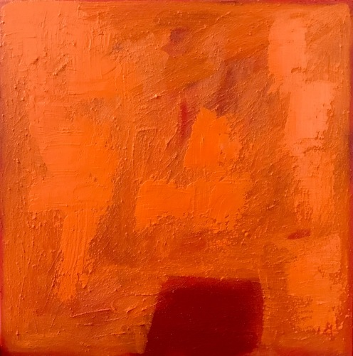 "Orange Sunset 20"" x 20"" oil, wax, acrylic"
