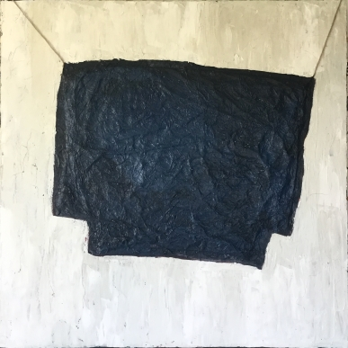 """Recycle old to new 40""""x40"""" Rice-paper, oil, wax, acrylic"""